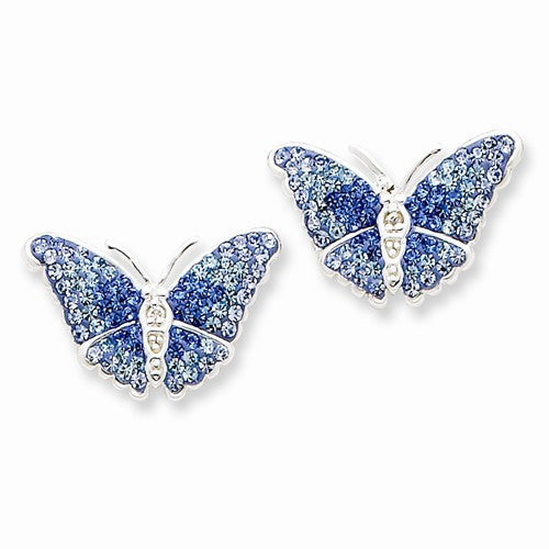 Sterling Silver Blue CZ Butterfly Earrings