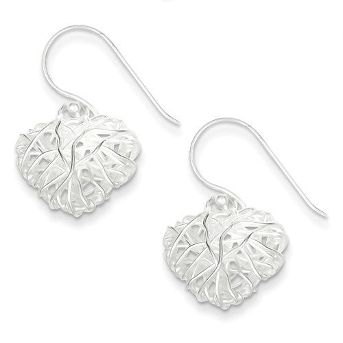 Sterling Silver Polished Woven Puffed Heart Dangle Earrings