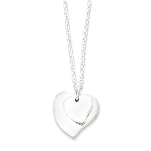 Sterling Silver Double Heart Necklace