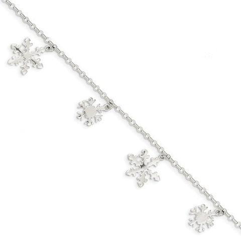 Sterling Silver Diamond-Cut Snowflake Bracelet