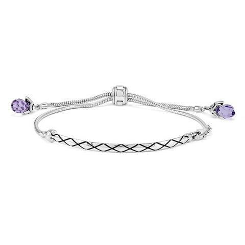 Sterling Silver Reflections Purple Swarovski Elements Bracelet