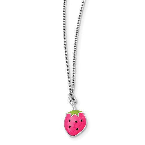 Sterling Silver Rhodium-Plated Enamel Strawberry 15.75in Necklace