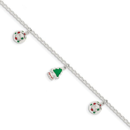 Sterling Silver Polished Enamel Christmas Dangle Charm Bracelet