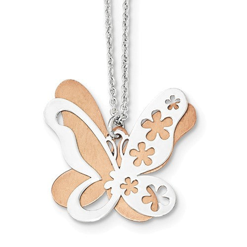 Sterling Silver & Rose Gold Plated Butterfly Necklace