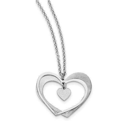Sterling Silver Brushed And Polished Laser-Cut Heart Necklace