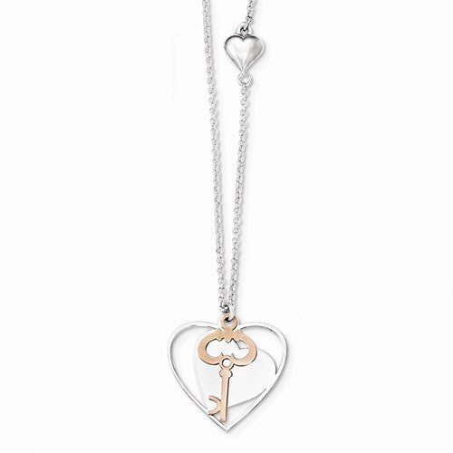 Sterling Silver & Rose-Tone Polished Moveable Heart & Key Necklace