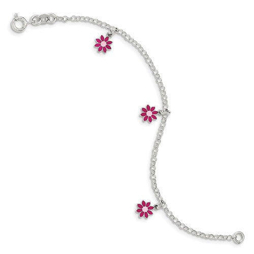 Sterling Silver Polished Children's Enameled Flower Bracelet