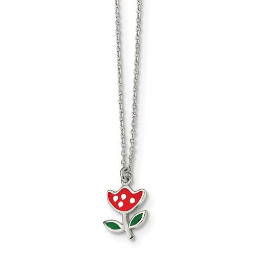 Sterling Silver Polished & Enameled Red Flower 14in Necklace