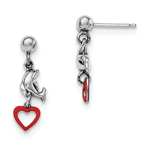 Sterling Silver Madi K Enamel Dolphin And Heart Dangle Earrings