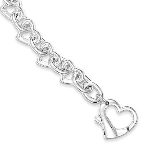 Sterling Silver 7.5 inch Polished Fancy Heart Link Bracelet