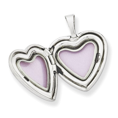 Sterling Silver Rhodium-Plated 16mm Enameled Butterfly Heart Locket