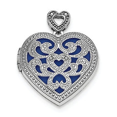 Sterling Silver Rhodium-Plated 24mm Heart W/Diamond Vintage Locket