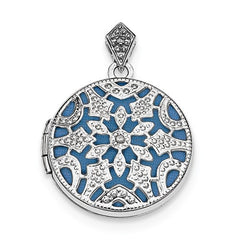 Sterling Silver Rhodium-Plated 20mm Round W/Diamond Vintage Locket