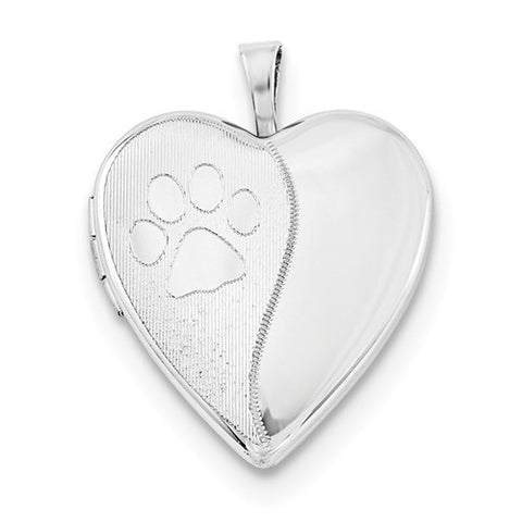 Sterling Silver Heart Paw Print Locket