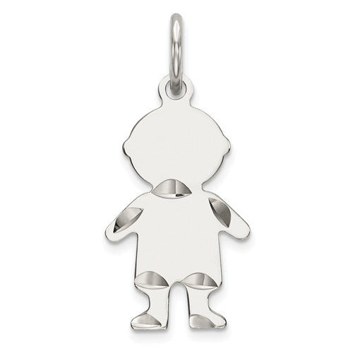 Sterling Silver D/C Engraveable Boy Polished Front/Satin Back Disc Charm