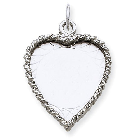 Sterling Silver Engraveable Heart Polished Front