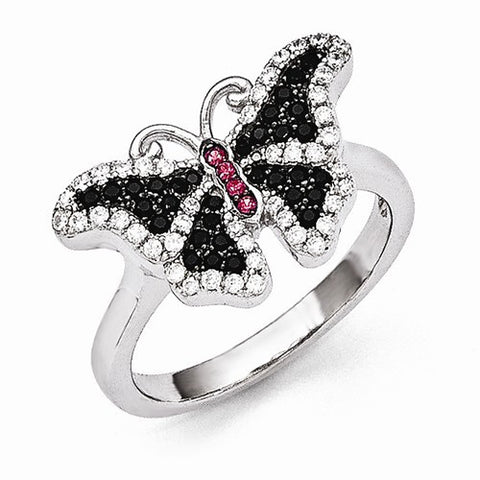 Sterling Silver & CZ Butterfly Ring