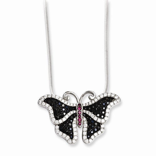 Sterling Silver & CZ Butterfly Necklace