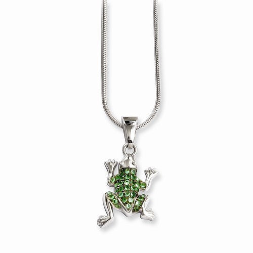 Sterling Silver & CZ Brilliant Embers Frog Necklace