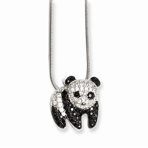 Sterling Silver & CZ Brilliant Embers Panda Necklace