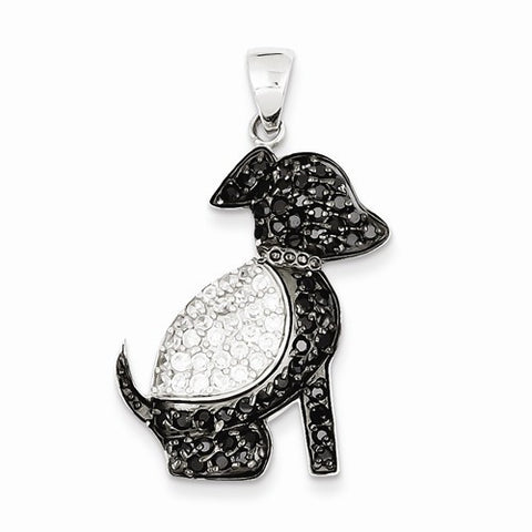 Sterling Silver Black and Clear CZ Dog Pendant