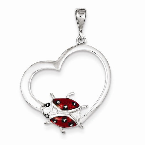 Sterling Silver Heart with Enameled Ladybug Pendant