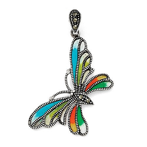 Sterling Silver Multi Color Butterfly Pendant
