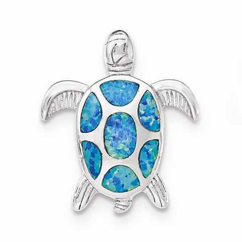 Sterling Silver Blue Turtle Pendant