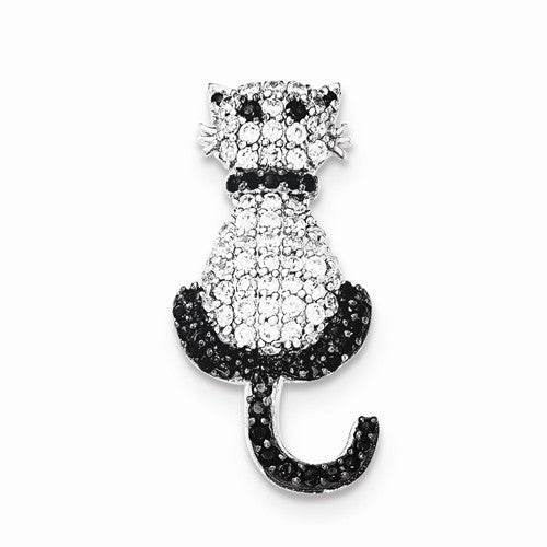 White with Black Accents Cat Slide Pendant