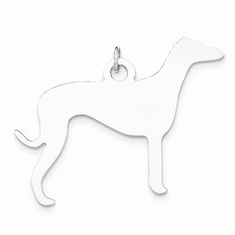 SS Toni Tails Engraveable Medium Grey Hound Disc Charm