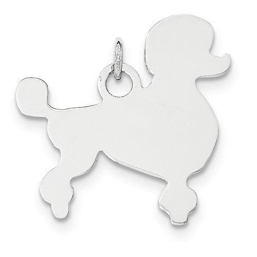 SS Toni Tails Engraveable Medium Poodle Disc Charm