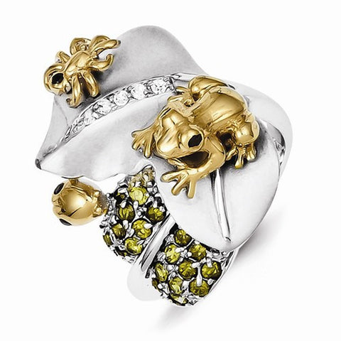 Sterling Silver Ring w/ Gold-Plated Toad