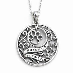 Sterling Silver Antiqued Animal Friends-Dog 18in Necklace