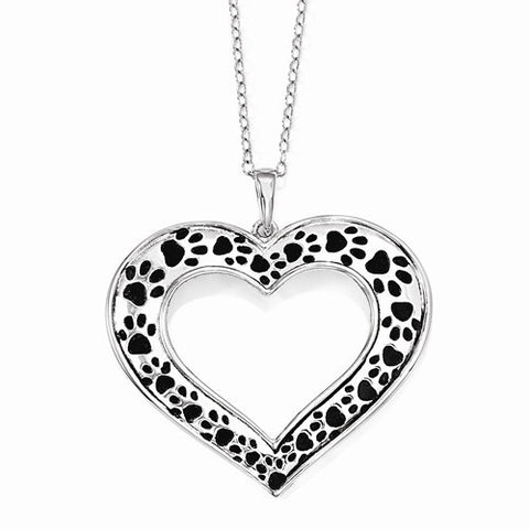 Sterling Silver Antiqued Animal Lover Paw Print 18 in. Necklace