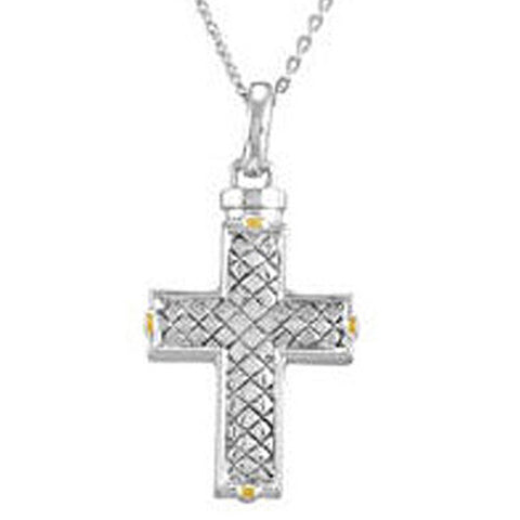 Checkerboard Cross Ash Holder Necklace