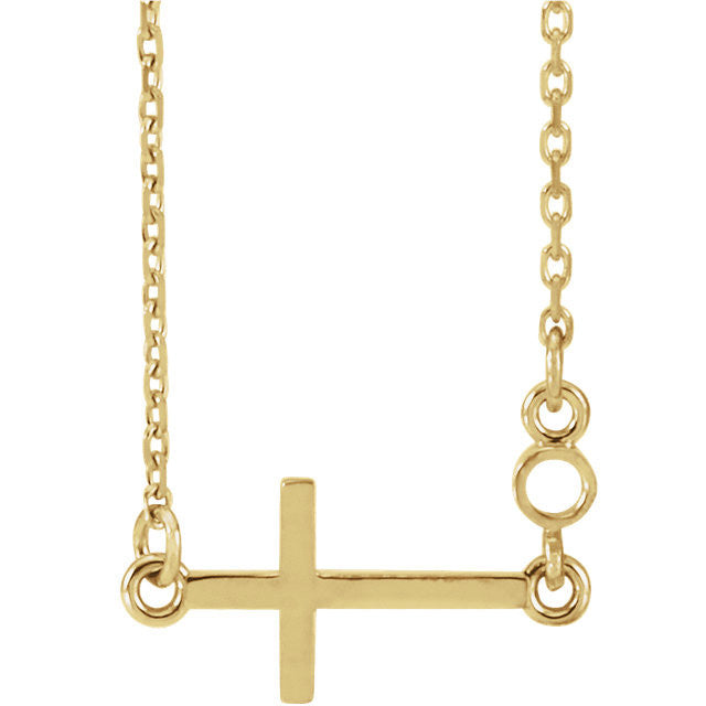 14K Sideways Cross Necklace