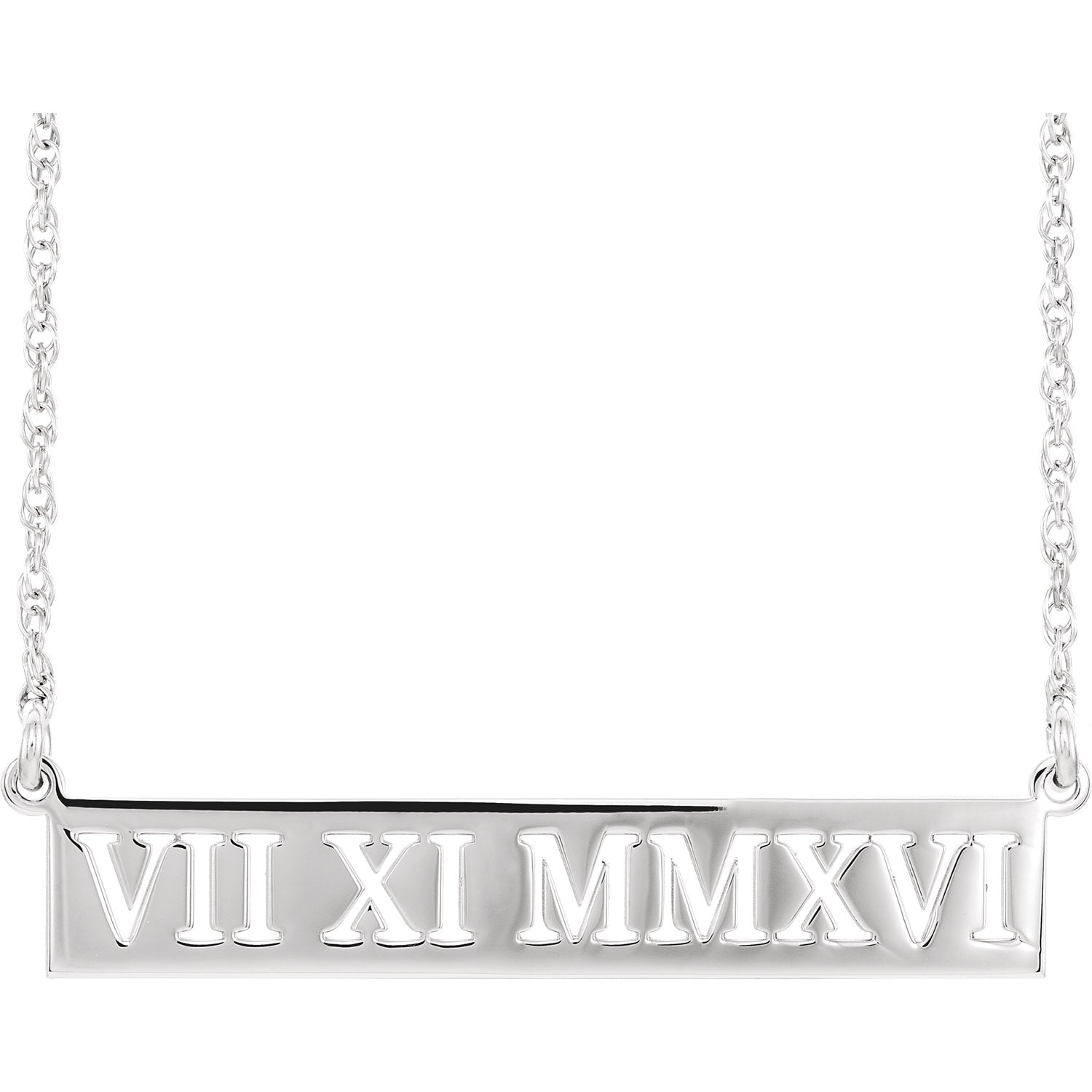 14K White Gold Roman Date Necklace