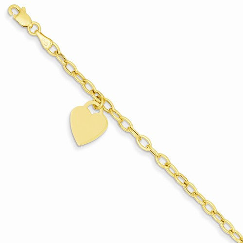14k Dangle Heart Bracelet