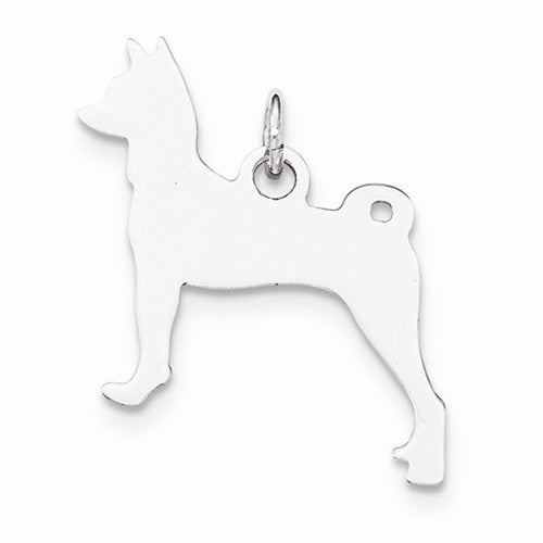 Engraveable Small Basenji Dog Disc Charm