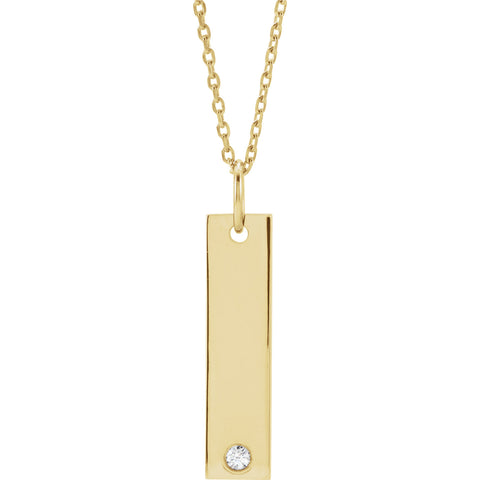 14K Yellow Engravable Bar Pendant Mounting