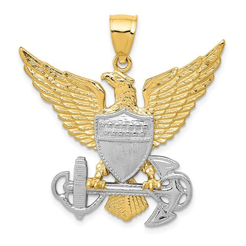 14K US Navy Eagle Pendant