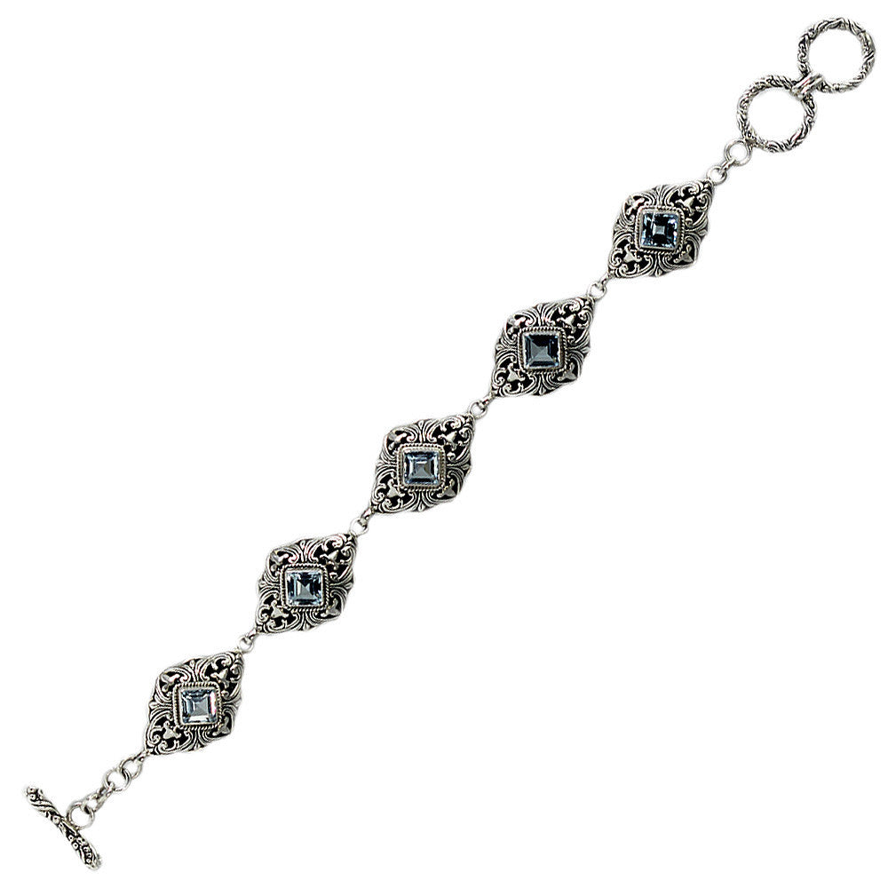 Sterling Silver Detailed Blue Topaz Bracelet