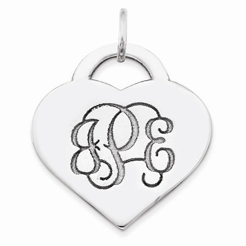 Engravable Sterling Silver Heart Monogram