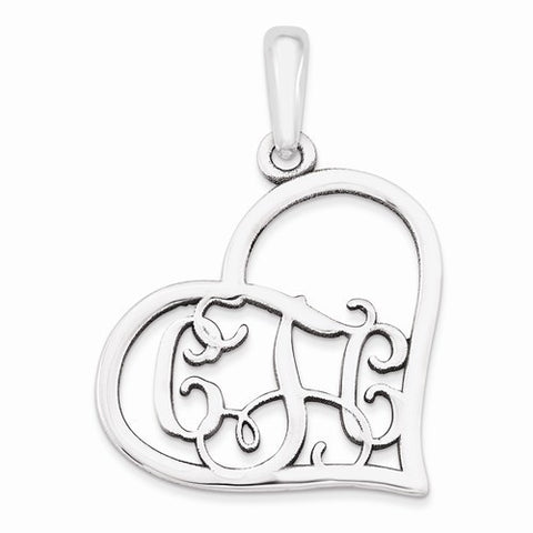 Sterling Silver Casted Polished & Satin Monogram Heart Pendant