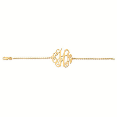 Gold Plated/SS Laser Polished Monogram Plate With Chain Bracelet