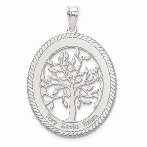 Sterling Silver Laser Polished Family Tree Oval Pendant
