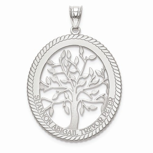 Laser Polished Family Tree Oval Pendant