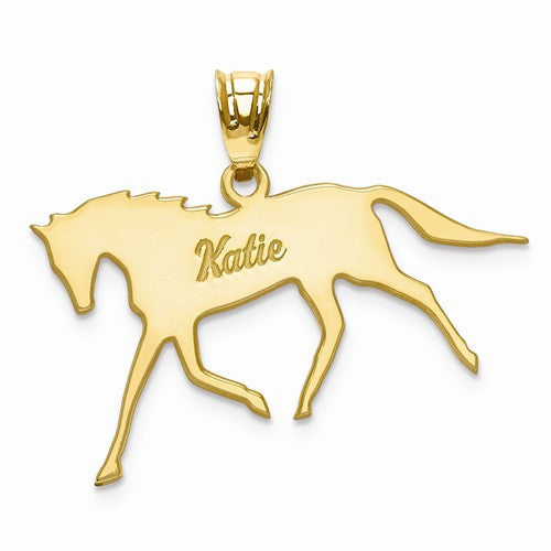 Gold Plated/SS Laser Polished Horse Name Pendant