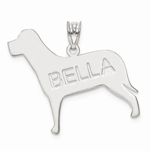 Sterling Silver Laser Polished Dog Name Pendant