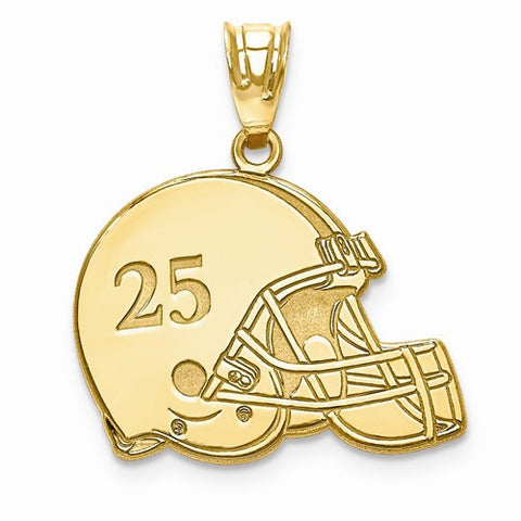 Gold Plated/SS Laser Football Helmet Number And Name Pendant